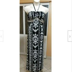 INC Ladies Sexy Black & White Halter Dress